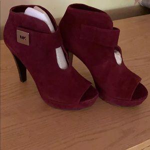 Maroon suede Michael Kors peep toe ankle boots